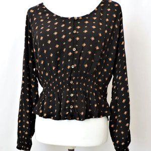 Billabong Black Gold Print Boho Cropped Top
